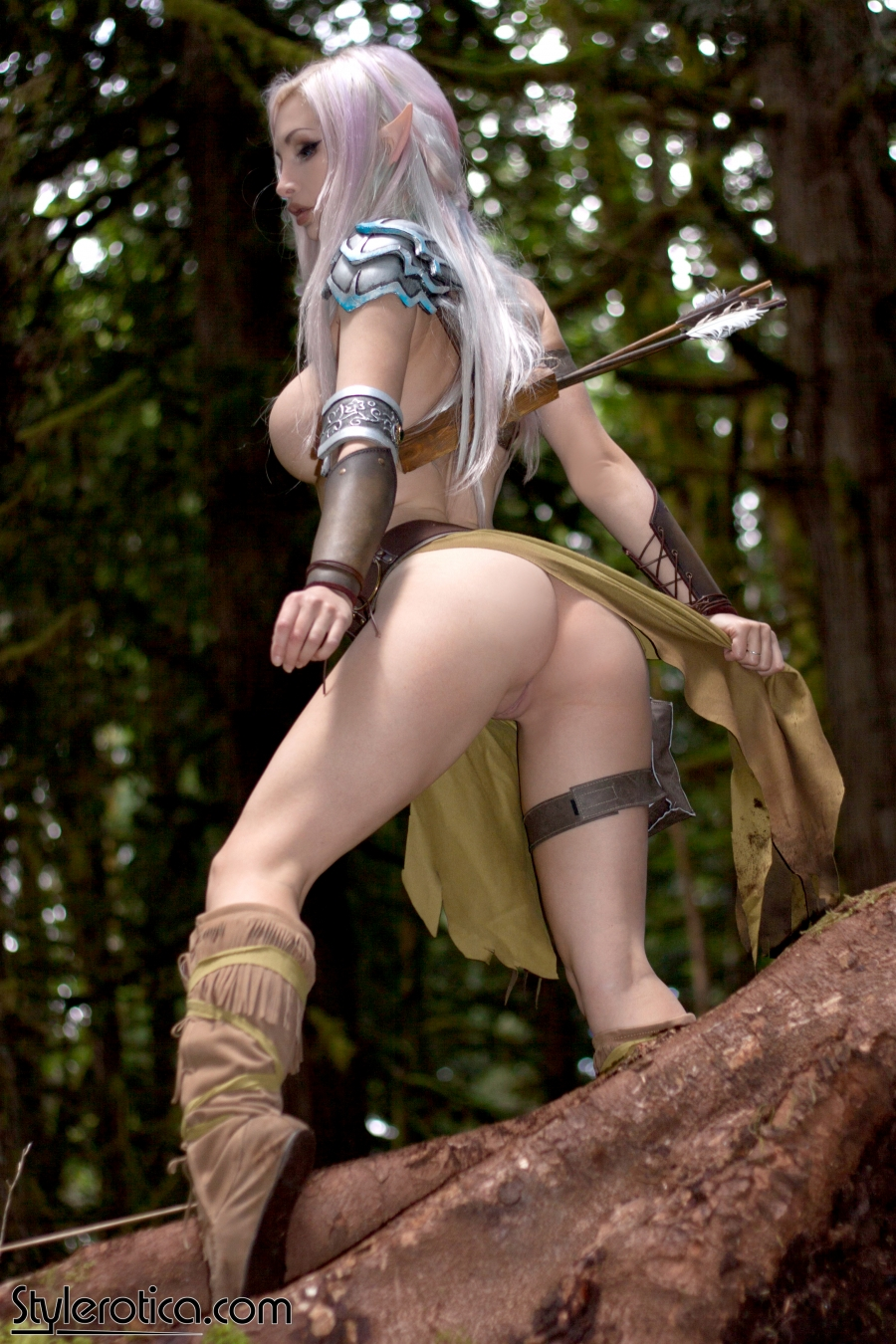 Naked blue elf cosplay adult pic